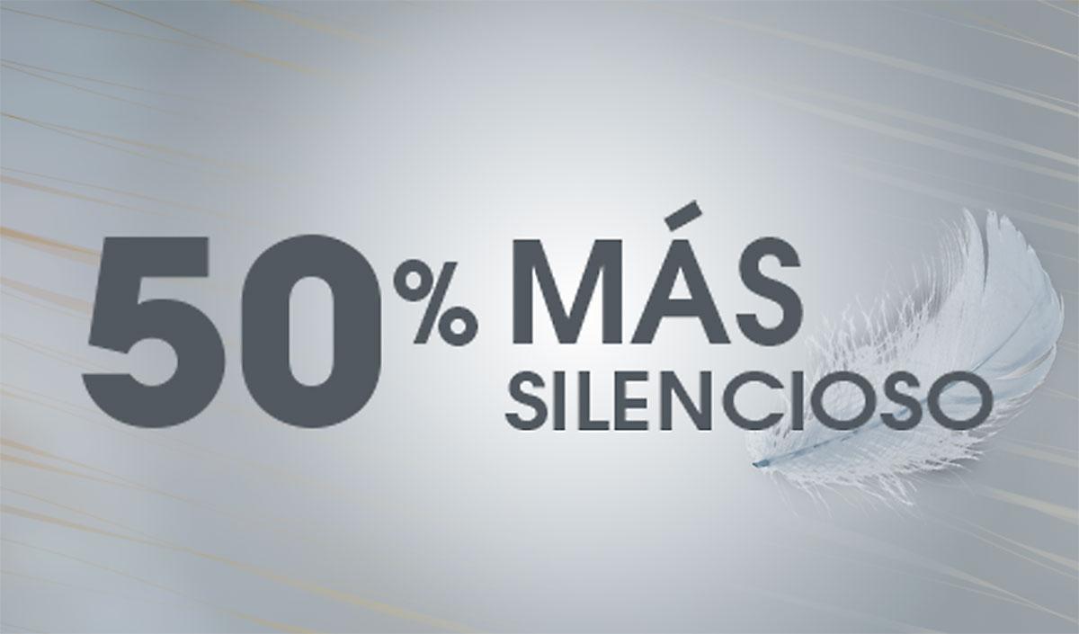 """Texto """"50% MÁS SILENCIOSO"""" con ilustración de una pluma en el fondo"""
