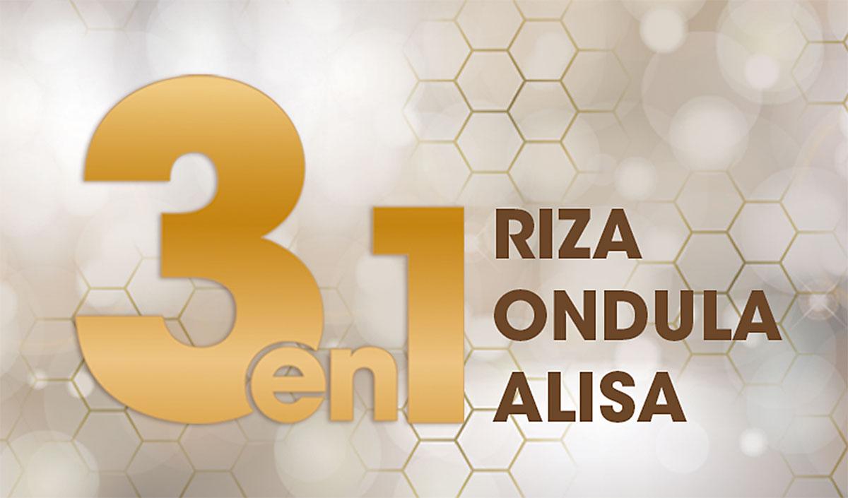 """Texto """"3 EN 1 RIZA ONDULA ALISA"""" sobre fondo dorado con panal de abejas"""