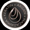 Icono de Plancha alisadora con Tecnología de Keratina, agaran y macadamia